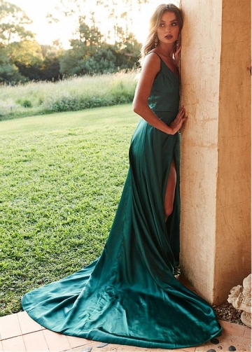 Lavish Stretch Charmeuse Satin Spaghetti Straps Neckline Floor-length A-line Evening Dresses With Slit