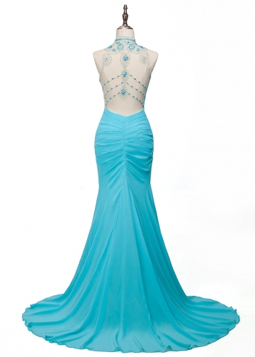 Glamorous Tulle & Chiffon Illusion High Collar Mermaid Evening Dresses With Beadings