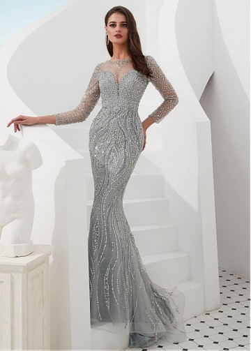 Eye-catching Tulle Jewel Neckline Floor-length Mermaid Evening Dresses With Sleeves