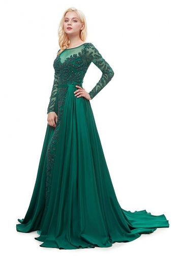 Brilliant Taffeta Bateau Neckline Floor-length A-line Formal Dress With Beadings