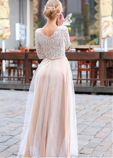 Amazing Lace & Tulle Scoop Neckline A-line Bridesmaid Dresses