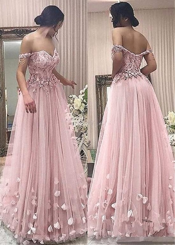 Unique Tulle Off-the-shoulder Neckline A-line Prom Dress With Beaded Lace Appliques & Handmade Flowers