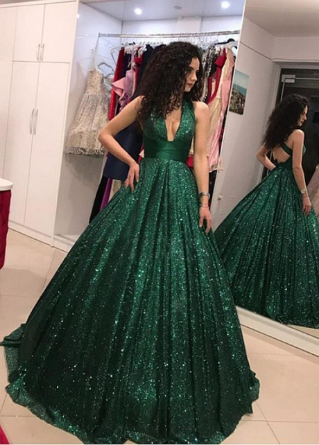 Brilliant Sequin Lace V-neck Neckline Ball Gown Evening Dress