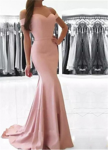 Romantic Acetate Satin Off-the-shoulder Neckline Floor-length Mermaid Prom Dress With Belt