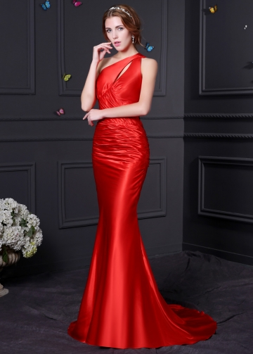 Gorgeous Stretch Charmeuse One Shoulder Neckline Mermaid Formal Dresses