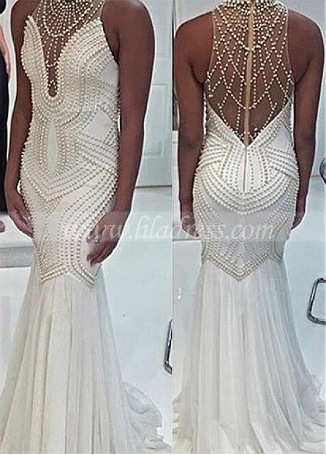 Marvelous Chiffon Jewel Neckline Mermaid Evening Dresses With Beadings