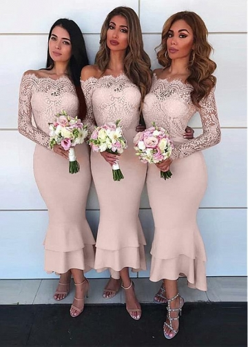 Fabulous Lace & Satin Off-the-shoudler Neckline Hi-lo Mermaid Bridesmaid Dress