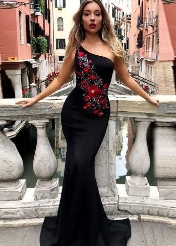 Embroidered Flowers Black Mermaid Evening Dress with One-shoulder