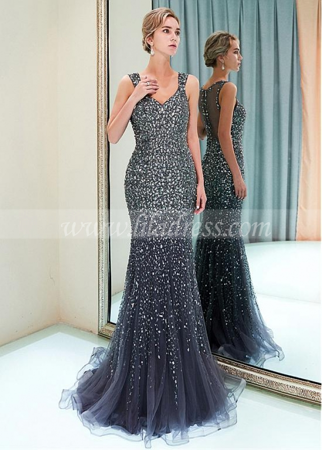 Sparkling Tulle V-neck Neckline Mermaid Formal Dress With Beadings