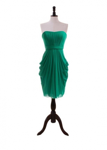 Emerald Green Bridesmaid Dress Short Draped Chiffon