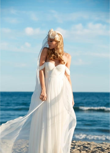 Exquisite Chiffon Summer Beach Wedding Dresses with Off-the-shoulder