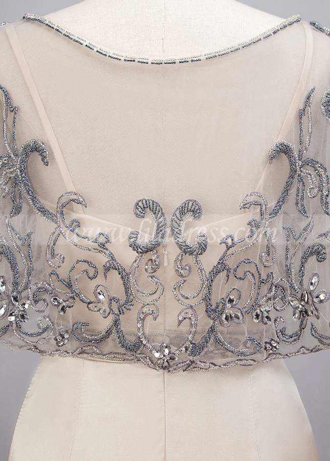 Modest Charmeuse & Tulle Spaghetti Straps Neckline Sheath/Column Evening Dresses With Detachable Jacket