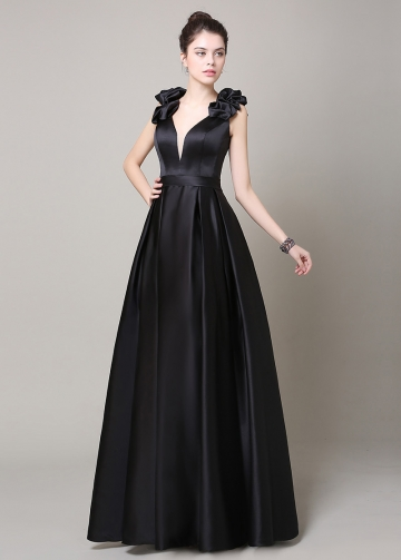 Elegant Satin V-Neck Neckline A-Line Military Dresses