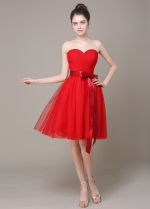 Lovely Tulle Sweetheart Neckline Knee-length A-line Bridesmaid Dress