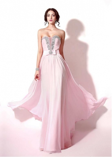Fashionable Chiffon Sweetheart Neckline A-line Prom Dresses With Beadings