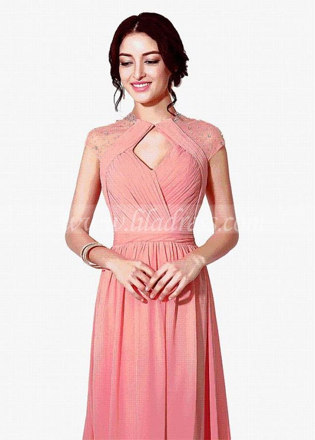 arvelous Chiffon Jewel Neckline A-line Evening Dresses With Rhinestones