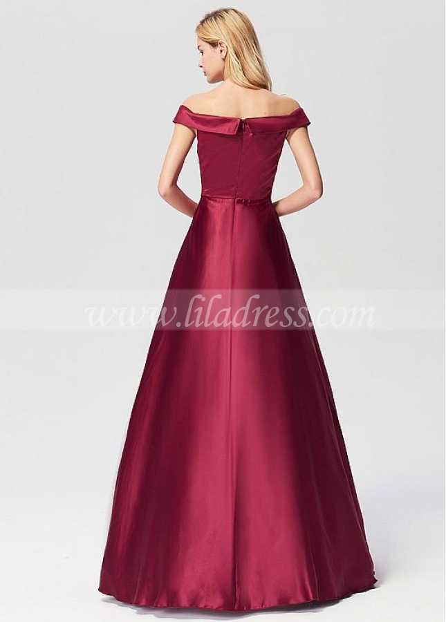 Chic Satin Off-the-shoulder Neckline A-line Prom/Evening Dresses