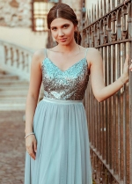 Conspicuous Tulle & Sequin Lace Spaghetti Straps Neckline A-line Prom/Evening Dresses