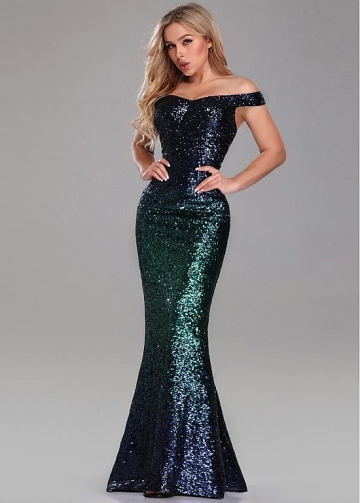 Brilliant Sequin Lace Off-the-shoulder Neckline Sheath/Column Evening Dresses