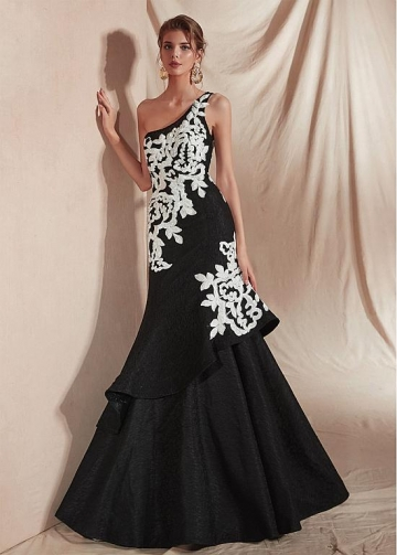 Marvelous Black One Shoulder Neckline Mermaid Prom Dresses With Appliques