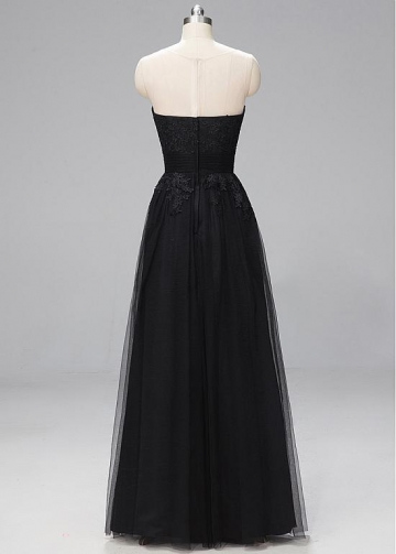 Stunning Lace & Tulle Bateau Neckline A-line Evening Dresses