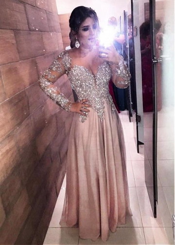 Splendid Chiffon Sweetheart Neckline Floor-length A-line Evening Dresses With Beaded Lace Appliques