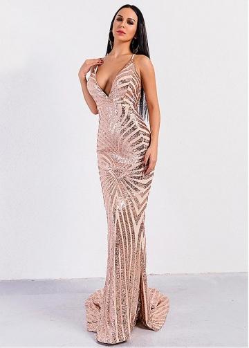 Sparkling Sequin Spaghetti Straps Neckline Mermaid Evening Dresses