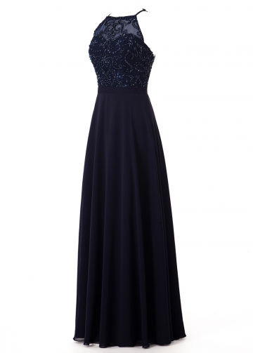 Pretty Tulle & Chiffon Halter Neckline Floor-length A-line Bridesmaide Dress With Beading
