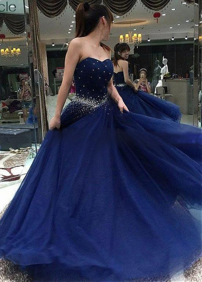 Glamorous Tulle Sweetheart Neckline Floor-length A-line Prom Dresses With Beadings