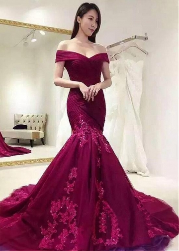 Modest Tulle Off-the-shoulder Neckline Floor-length Mermaid Evening Dresses With Beaded Lace Appliques