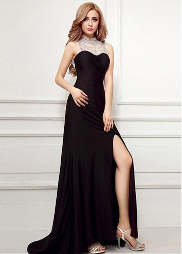 Junoesque Black High Collar Floor-length Mermaid Evening Dresses With Slit