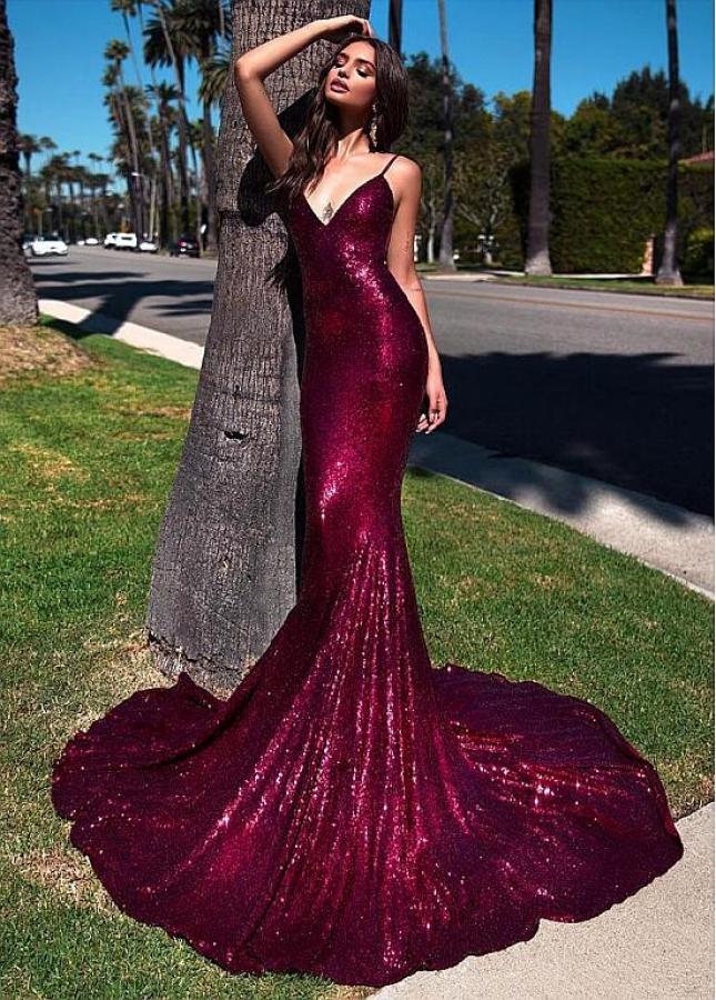 Open Back Sequin Lace Spaghetti Straps Neckline Floor-length Mermaid Evening Dress