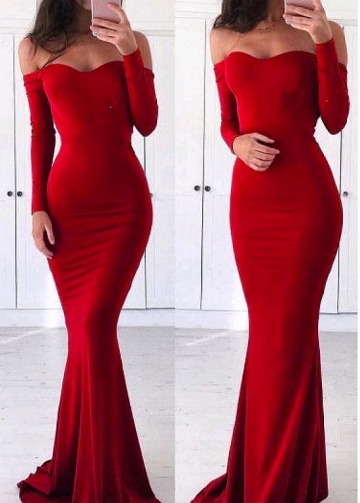 Eye-catching Spandex Off-the-shoulder Neckline Floor-length Mermaid Evening Dress