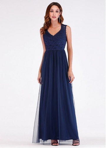 Fantastic Lace & Tulle V-neck Neckline Floor-length A-line Evening Dress