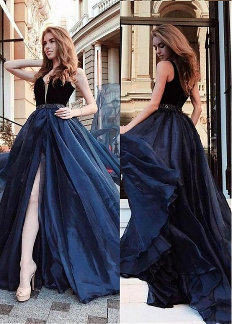 Exquisite V-neck Neckline Floor-length A-line Evening Dress With Beadings & Belt