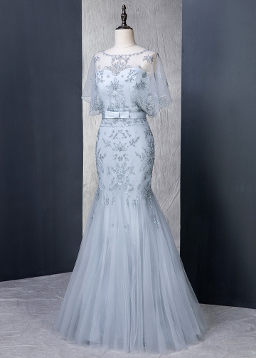 Fantastic Tulle Scoop Neckline Natural Waistline Mermaid Evening Dress With Beaded Embroidery & Belt