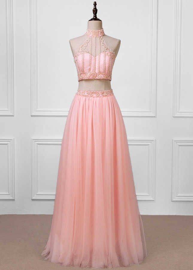 Romantic Tulle Halter Neckline A-line Two-piece Prom Dresses With Pleats & Beadings