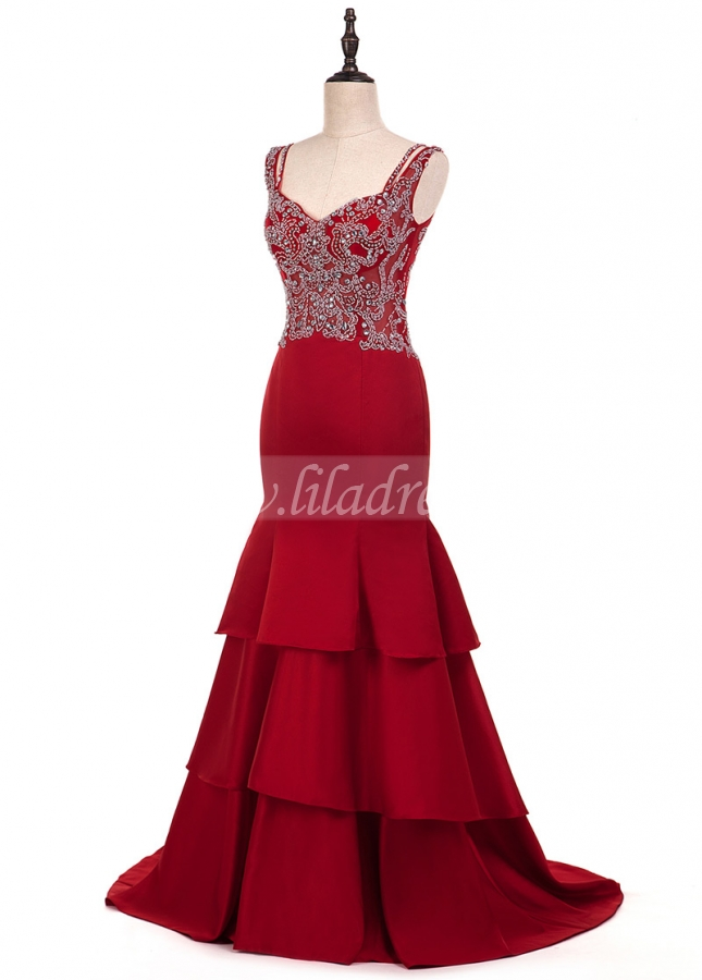 Fabulous Satin V-neck Neckline Mermaid Evening Dresses With Beaded Embroidery