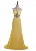 Fabulous Tulle & Chiffon Halter Neckline Sheath/Column Formal Dress With Beadings