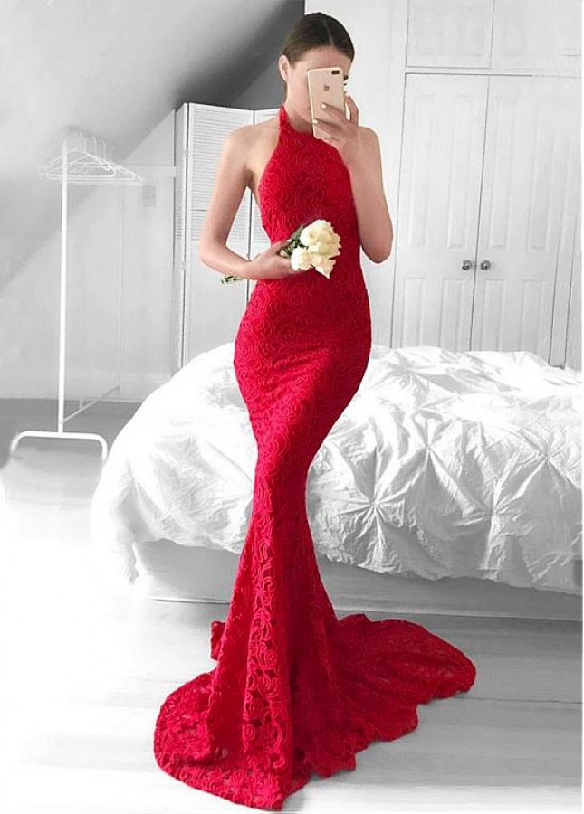 Showy Lace Halter Neckline Backless Mermaid Evening Dresses