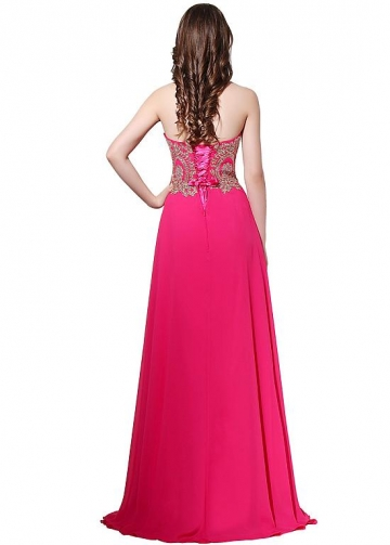 Delicate Chiffon Sweetheart Neckline Natural Waistline A-line Prom Dresses With Hot Fix Rhinestone