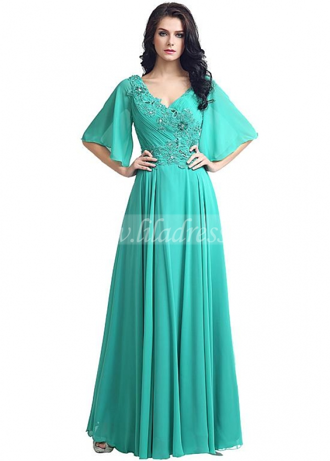 Modest Chiffon V-neck Neckline Trumpet Sleeves A-line Evening Dresses With Beaded Lace Appliques