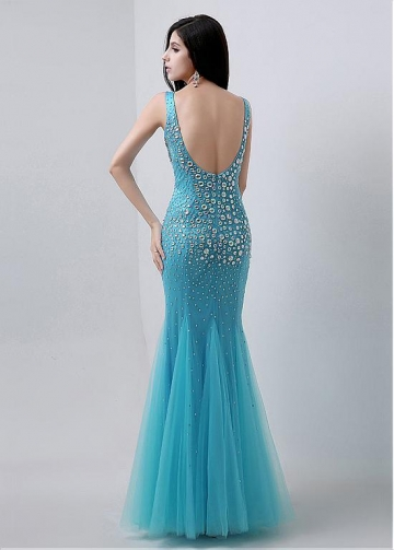 Modest Tulle V-neck Neckline Mermaid Evening Dresses With Rhinestones