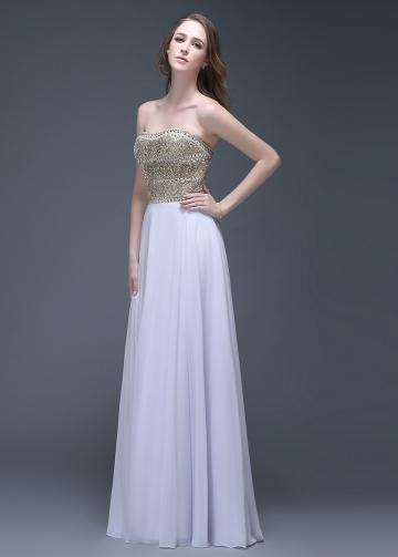 Glamorous Chiffon Strapless Neckline Full-length A-line Prom Dresses