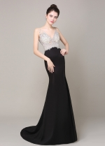 Gorgeous Tulle & Stretch Charmeuse V-Neck Mermaid Formal Dresses