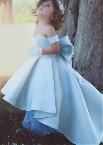 Lovely Satin Off-the-shoulder Neckline Hi-lo Length Ball Gown Flower Girl Dresses With Bowknot