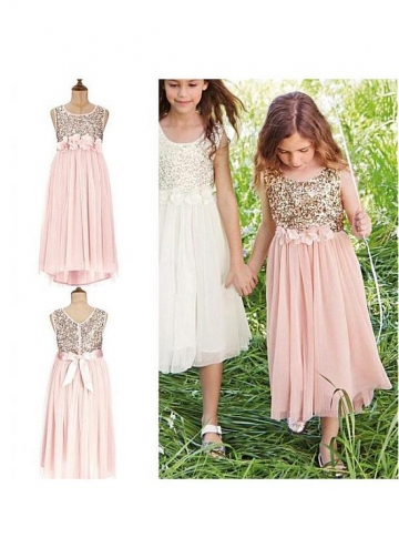 Unique Sequin Lace & Chiffon Scoop Neckline Tea-length A-line Flower Girl Dresses With Handmade Flowers & Belt