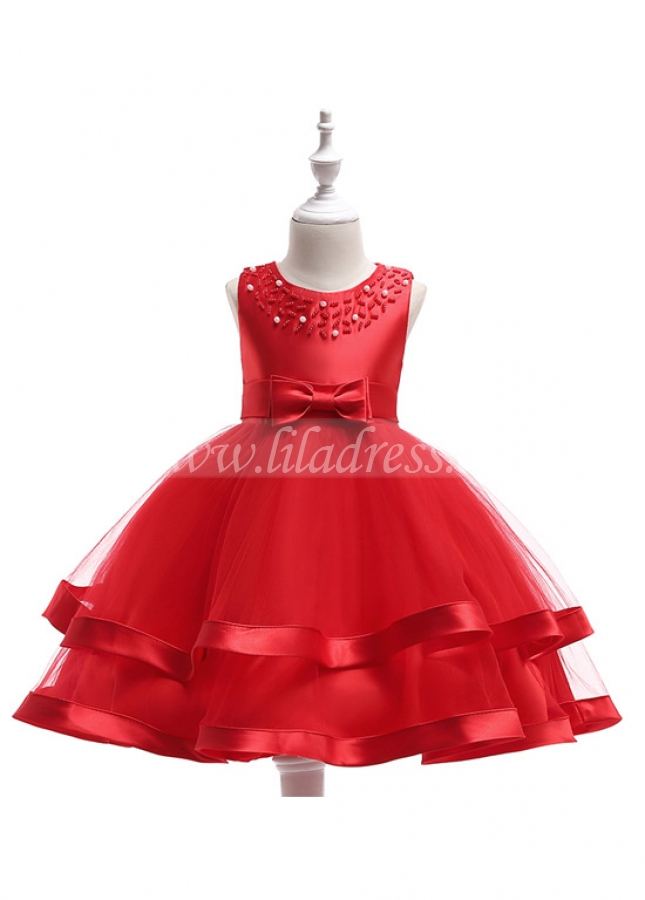Cute Satin & Tulle Jewel Neckline A-line Flower Girl Dresses With Beadings