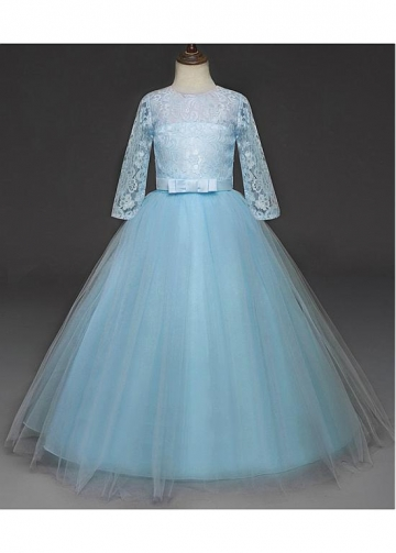Lace & Tulle Jewel Neckine Ball Gown Flower Girl Dresses