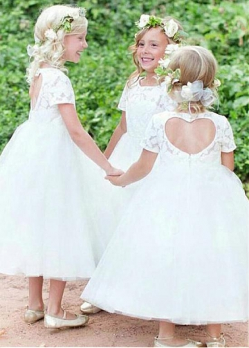 Sweet Lace & Tulle Jewel Neckline Ball Gown Flower Girl Dresses